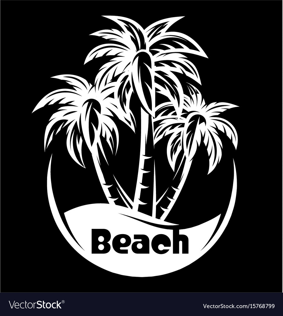 Palm tree and waves of a night beach