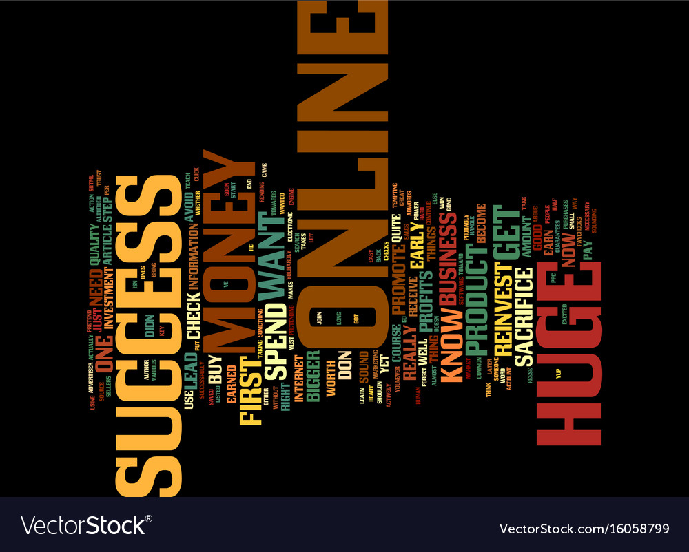 The one key to huge online success text vector image