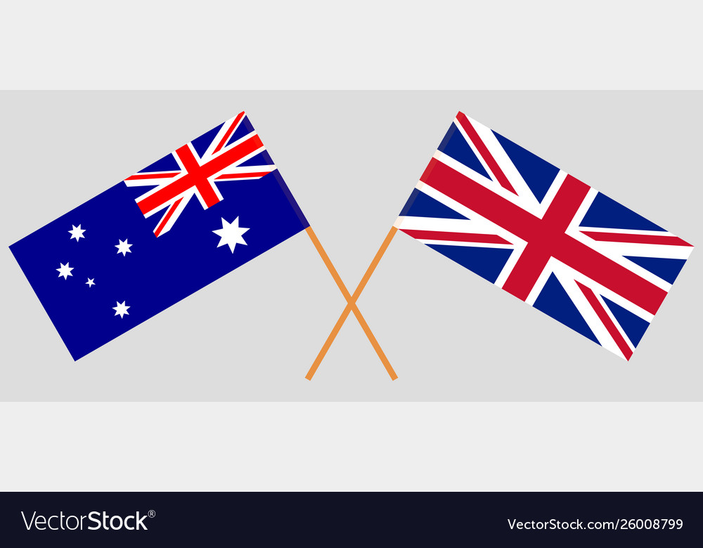 The Uk And Australia British And Australian Flags Vector Image