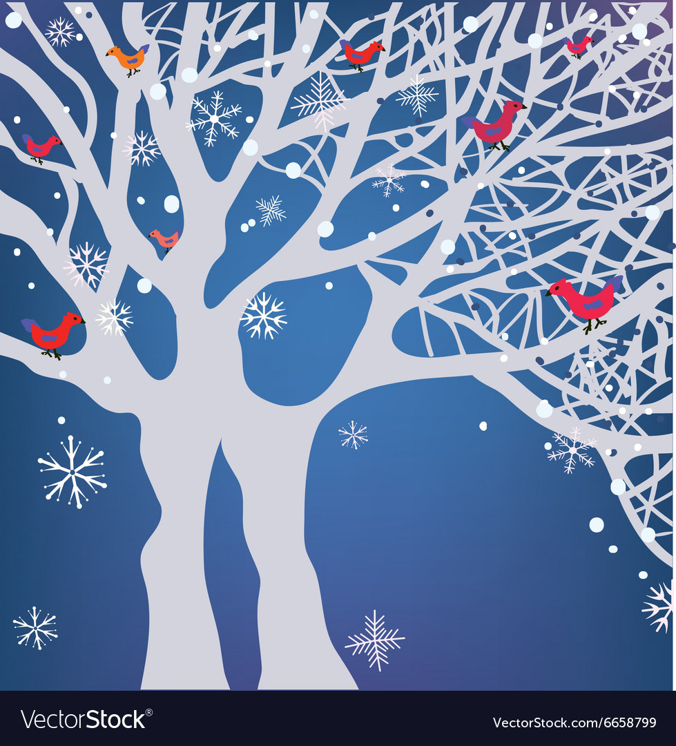 Winter Christmas background with tree snow and