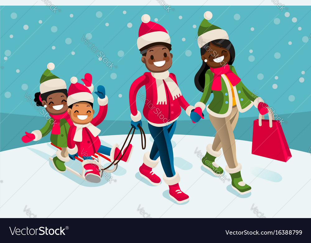Black People Christmas Pictures.Winter Family Vacations Isometric People Black
