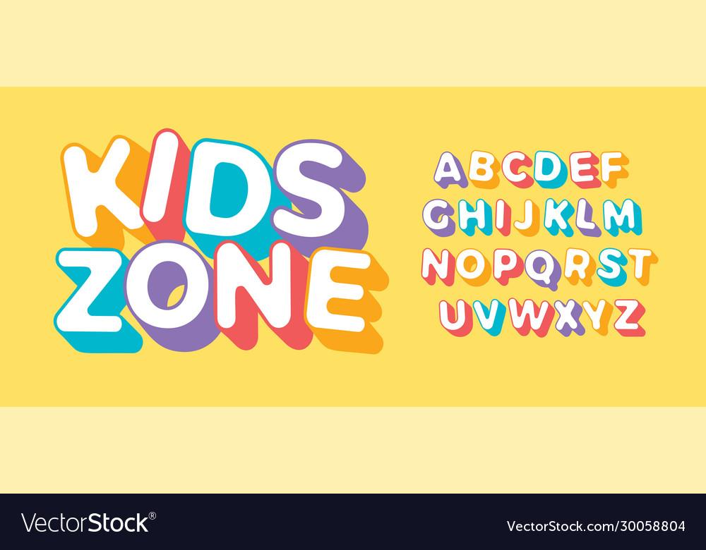 3d letter set for kids zone font for children