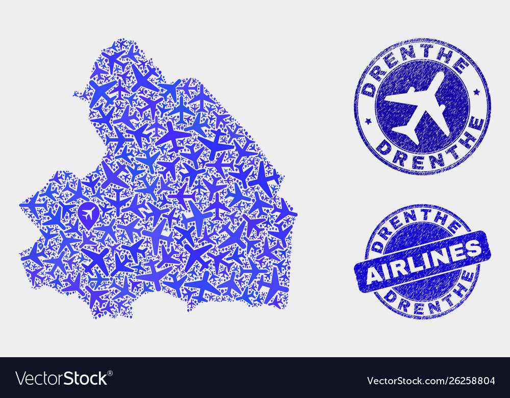 Airlines mosaic drenprovince map and