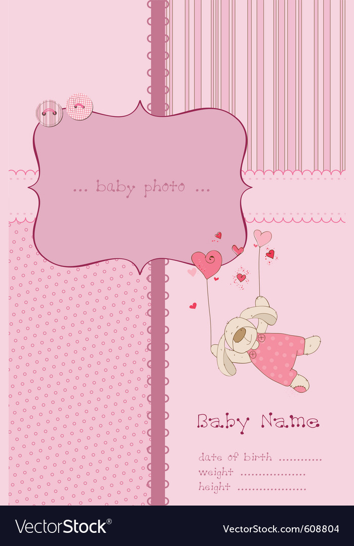 Baby Girl Picture Frames on Baby Girl Arrival Card With Photo Frame And Place Vector 608804   By