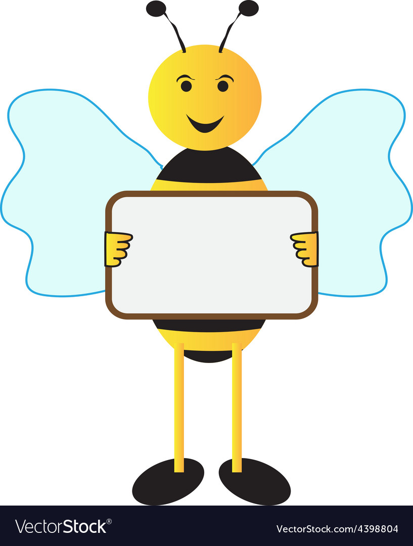 Bee holding sign board