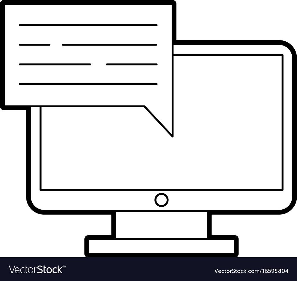 Computer desktop with speech bubble