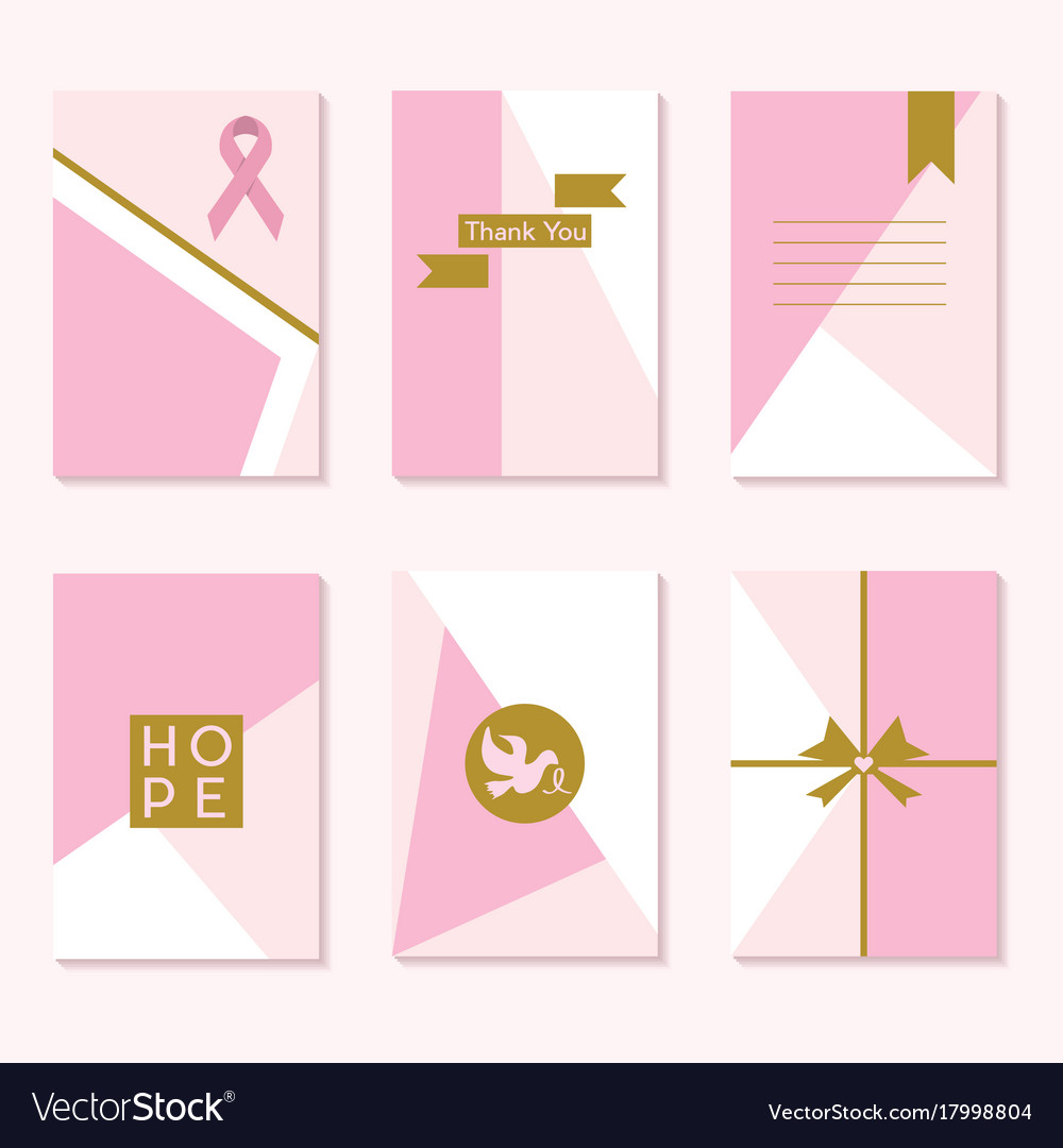 Cute Pink Cancer Awareness Trendy Backgrounds Vector Image