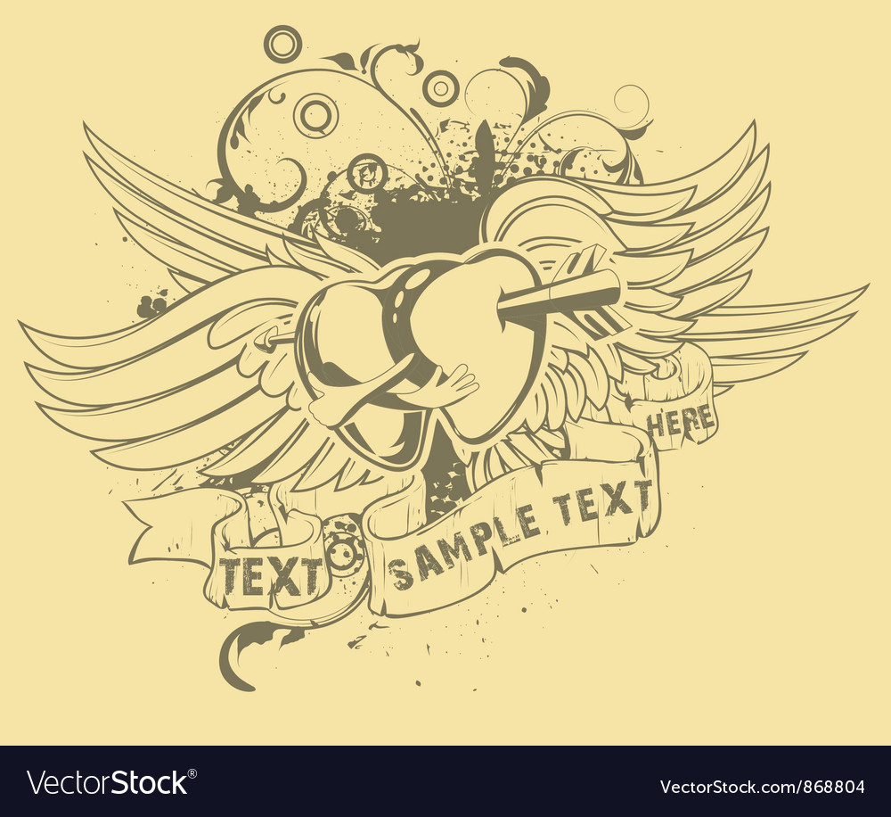 Grunge t-shirt design with hearts vector image