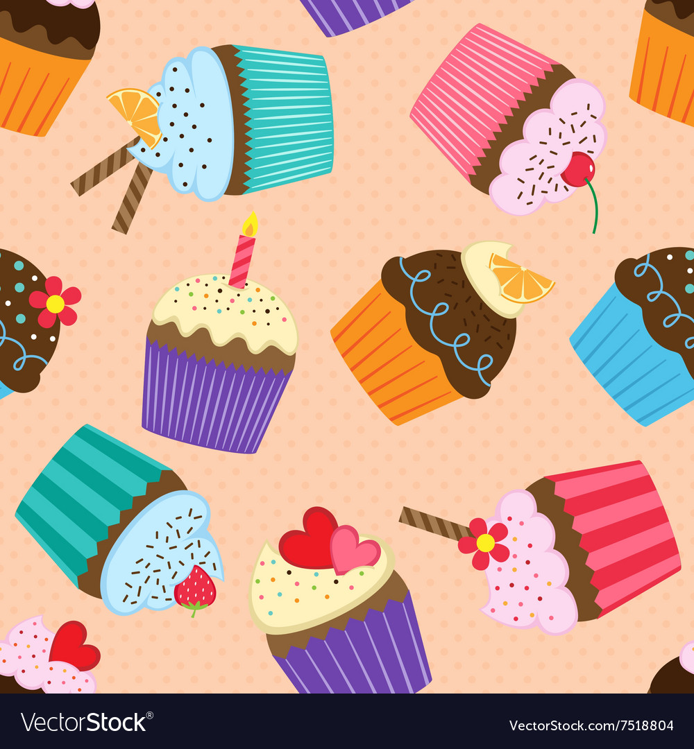 Pattern with cupcakes