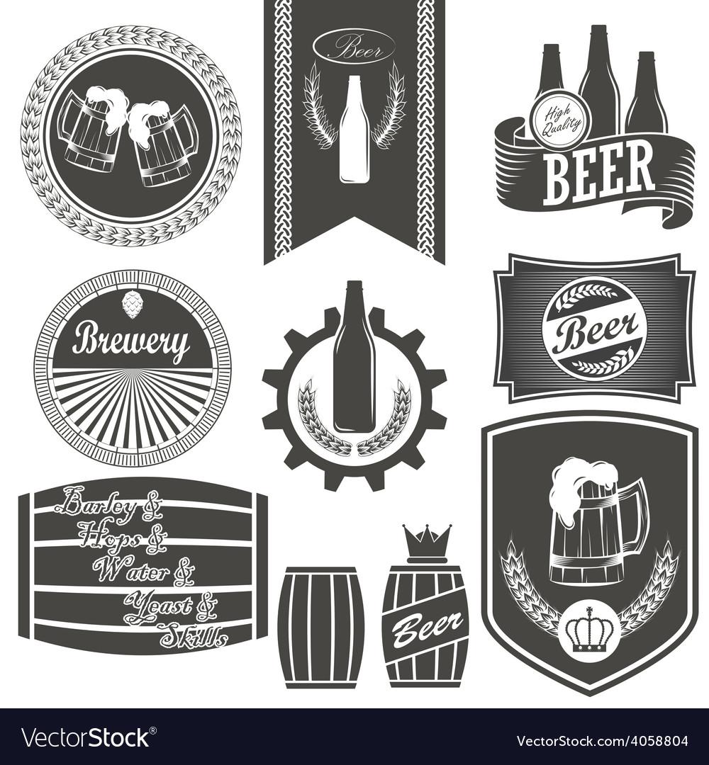 Vintage beer brewery emblems labels and design