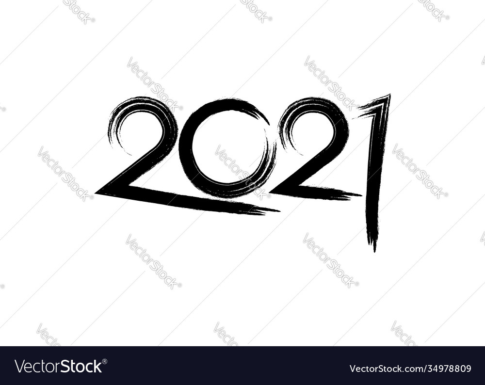 2021 happy new year brush stroke style isolated