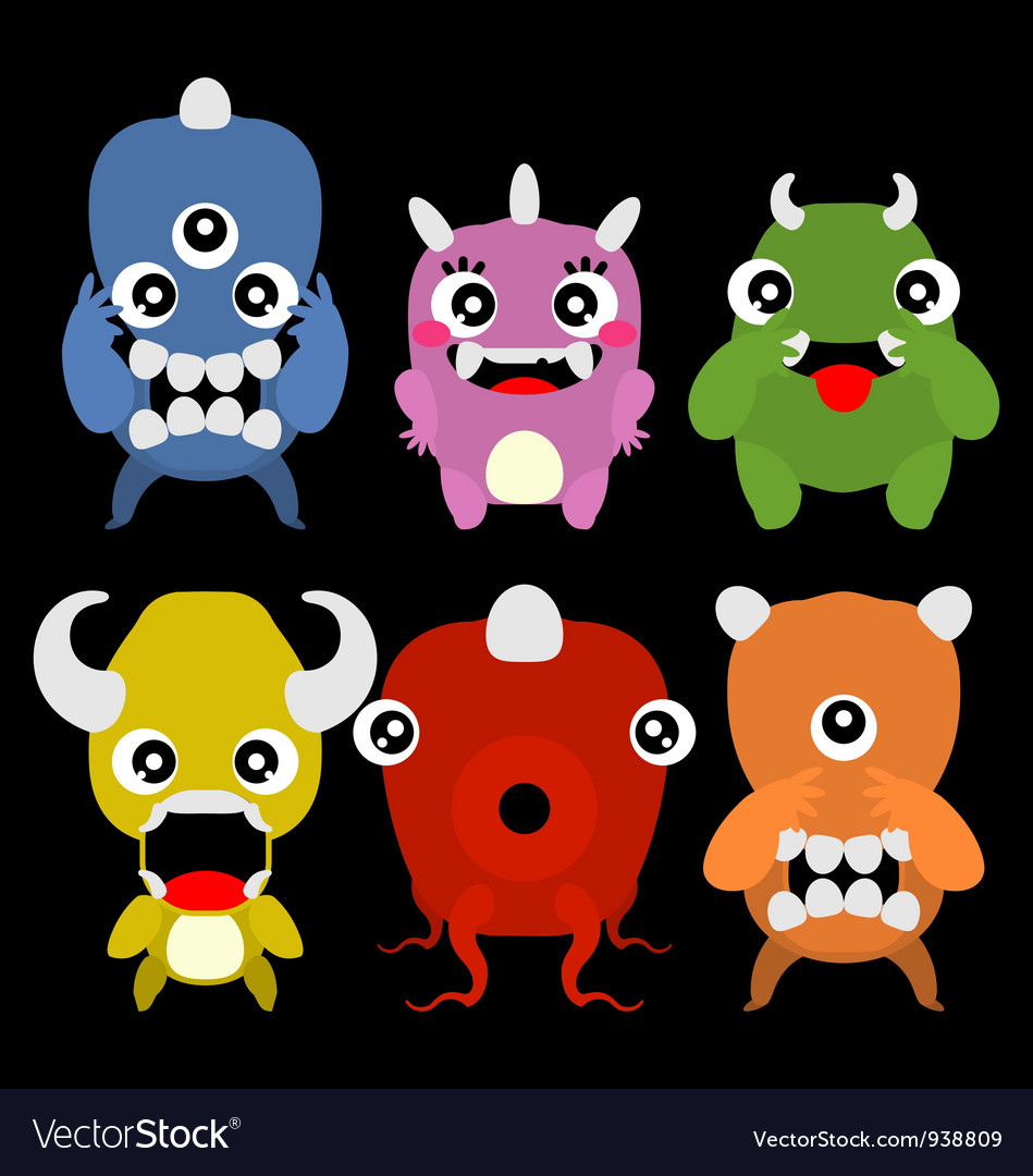 A set of cute cartoon monsters