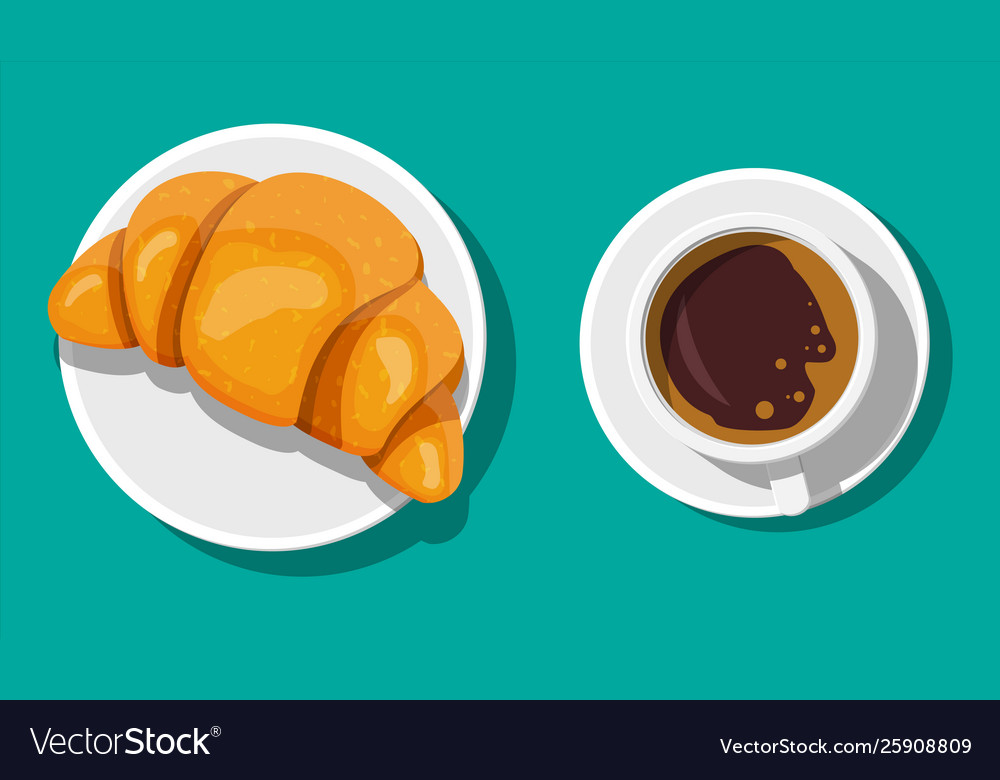 Coffee cup and french croissant
