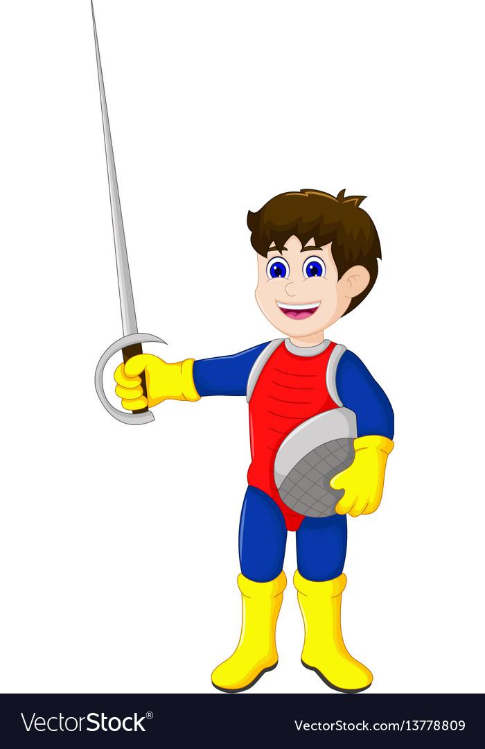 Cute knight cartoon holding sword vector image