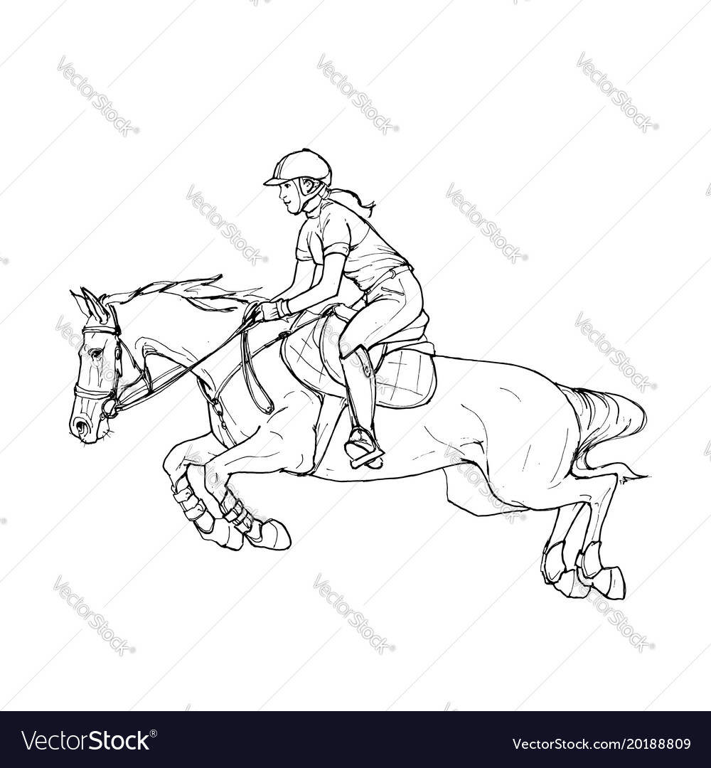 Female rider - jumping horse outline black and