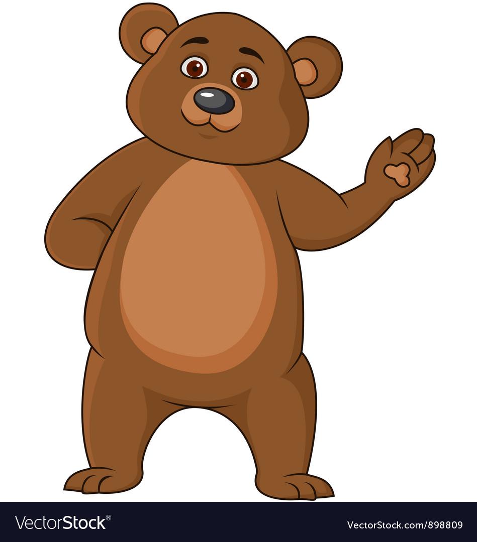 funny brown bear cartoon royalty free vector image
