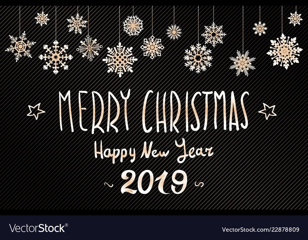 Gold merry christmas greetings and