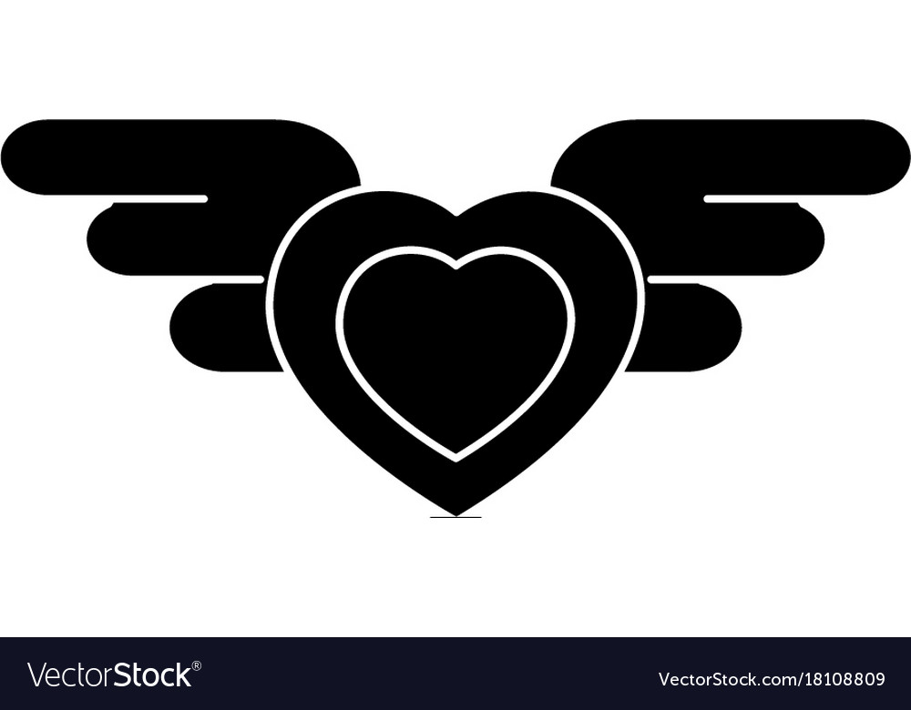 Heart with wings icon black vector image