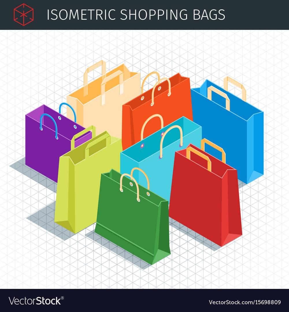 Isometric shopping bags