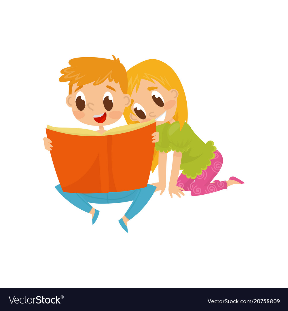 Little children reading book with fairy tales vector image