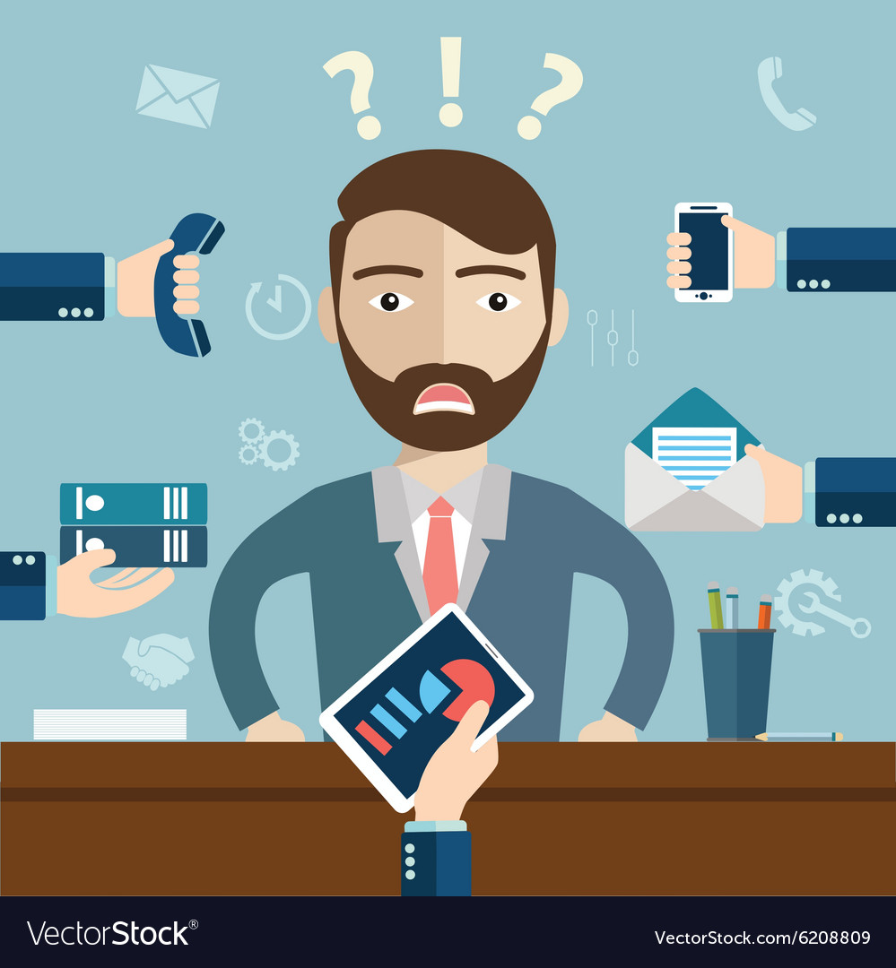 person at work multitasking stress in office vector image