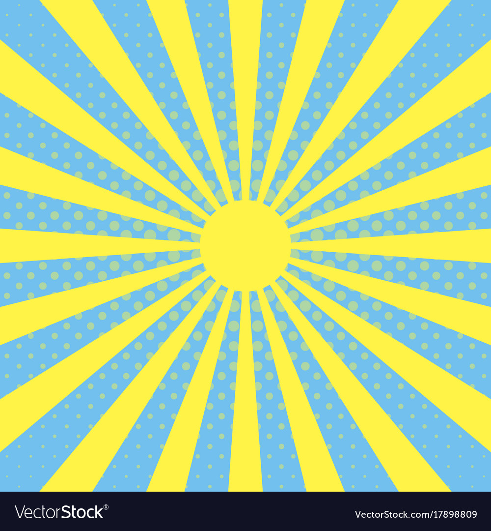 pop art background with sun beam rays royalty free vector