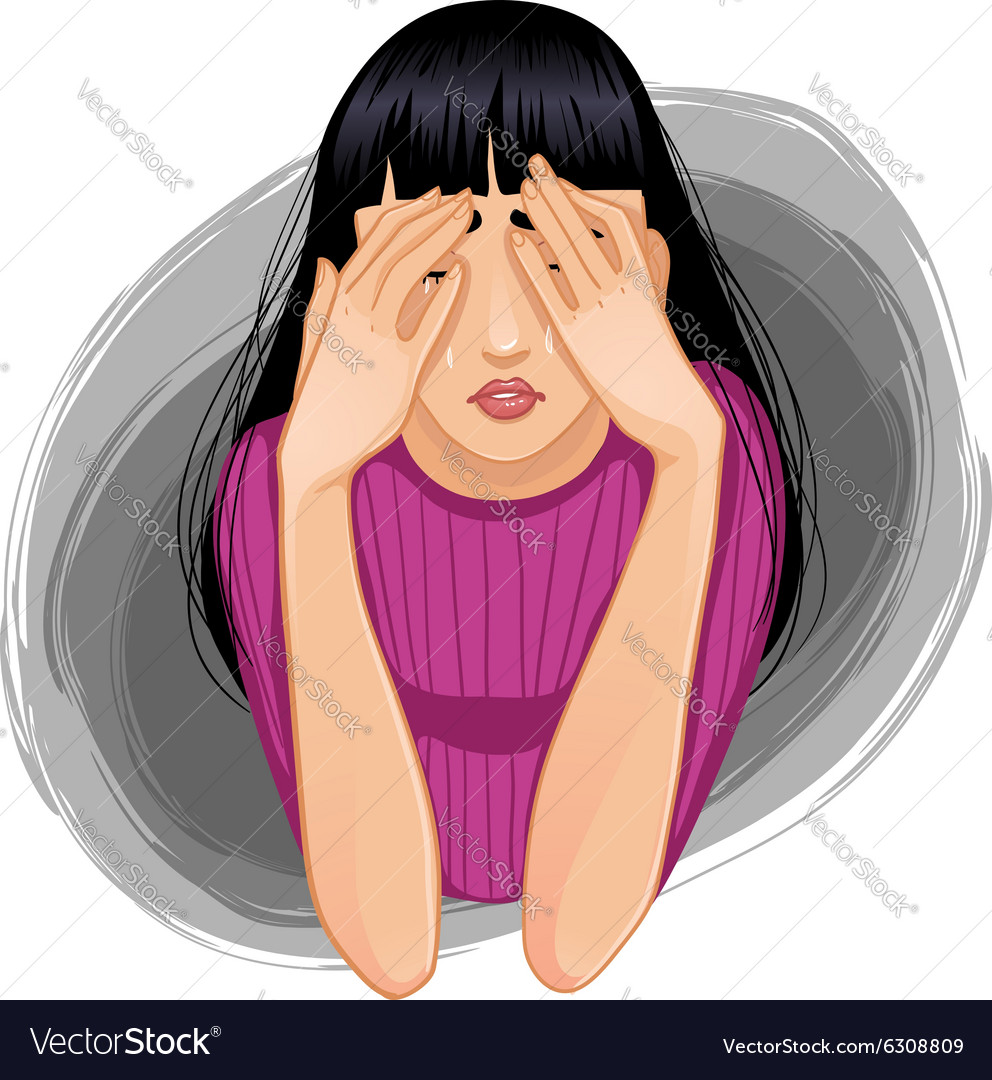 Sad crying woman closing her face with her hands
