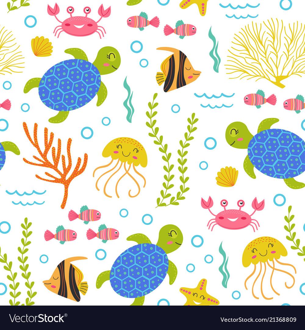 Seamless pattern with turtlemarine animals
