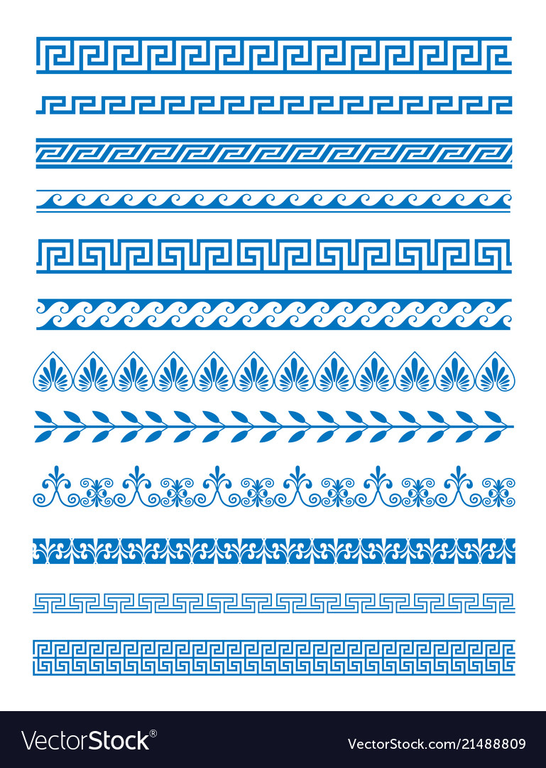 Set of greek patterns and