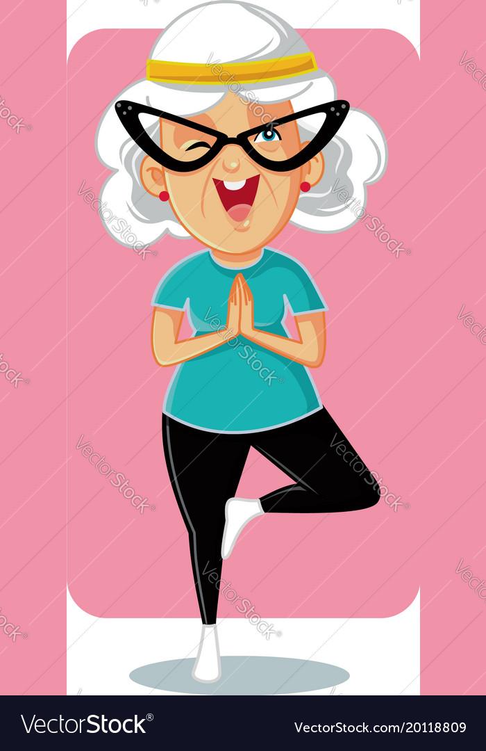 Sporty granny in yoga pose cartoon