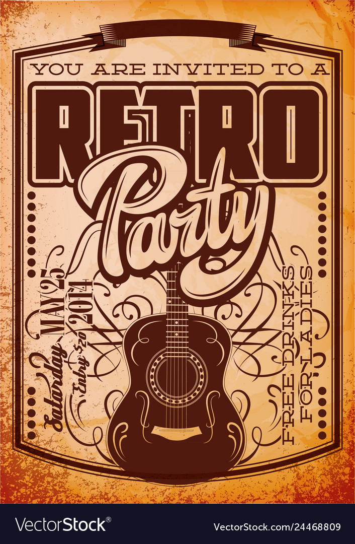 Stylish color retro party template with guitar