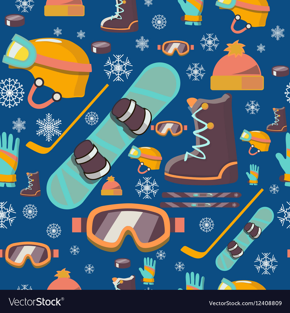 Winter sports seamless pattern icons vector image