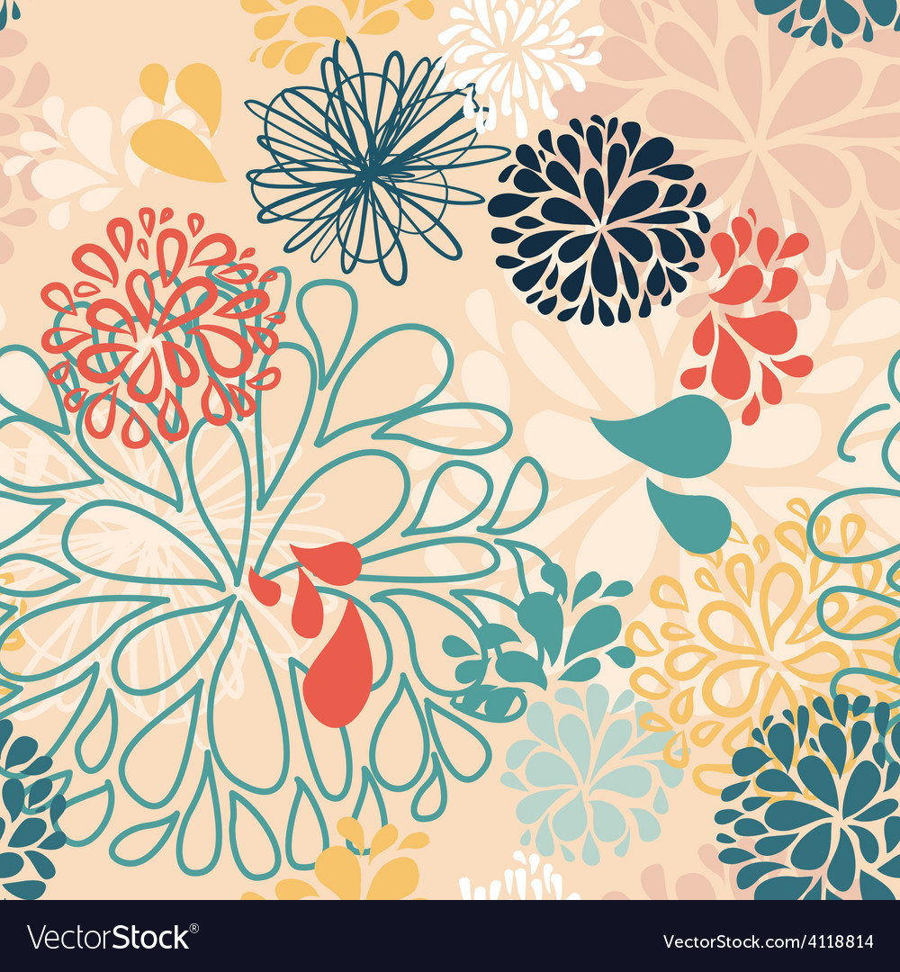 Abstract Colorful Doodles Flowers