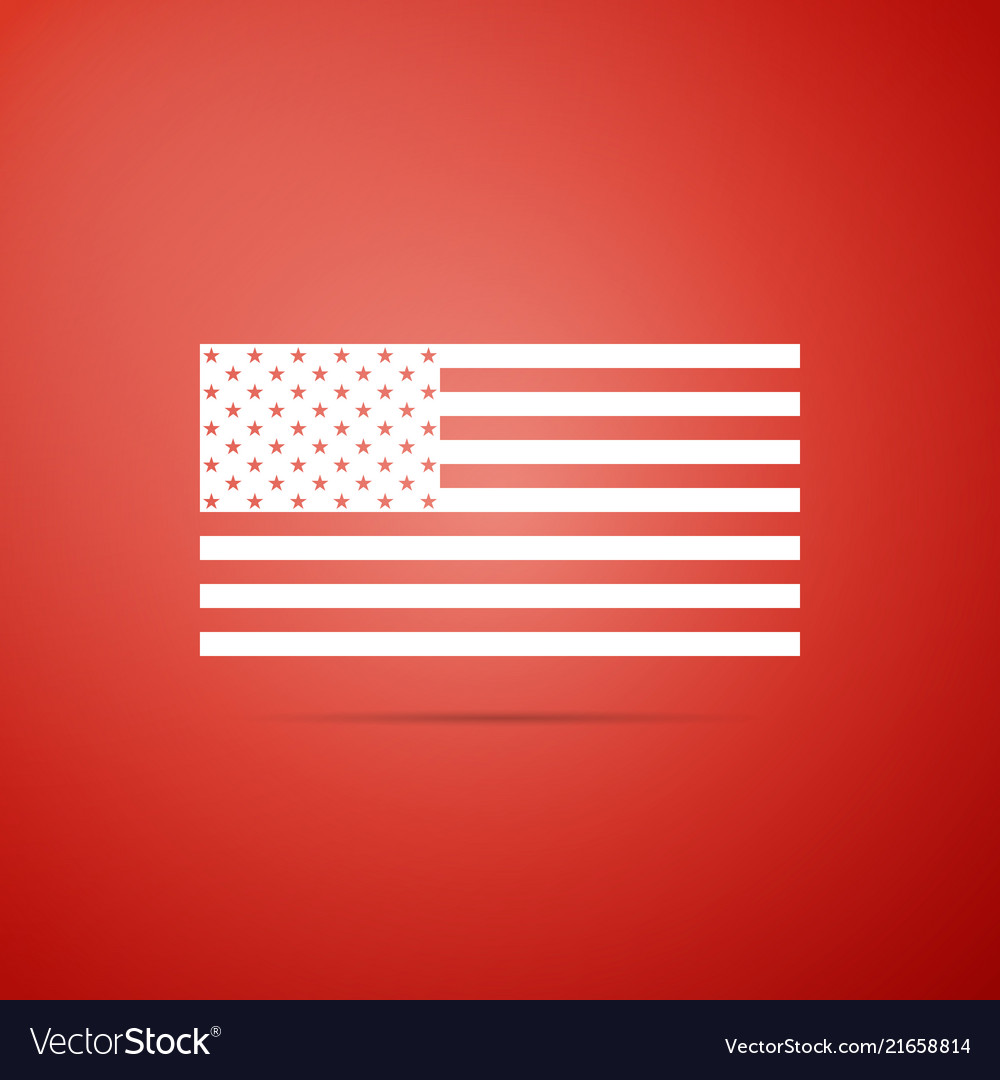 American flag icon on red background flag of usa