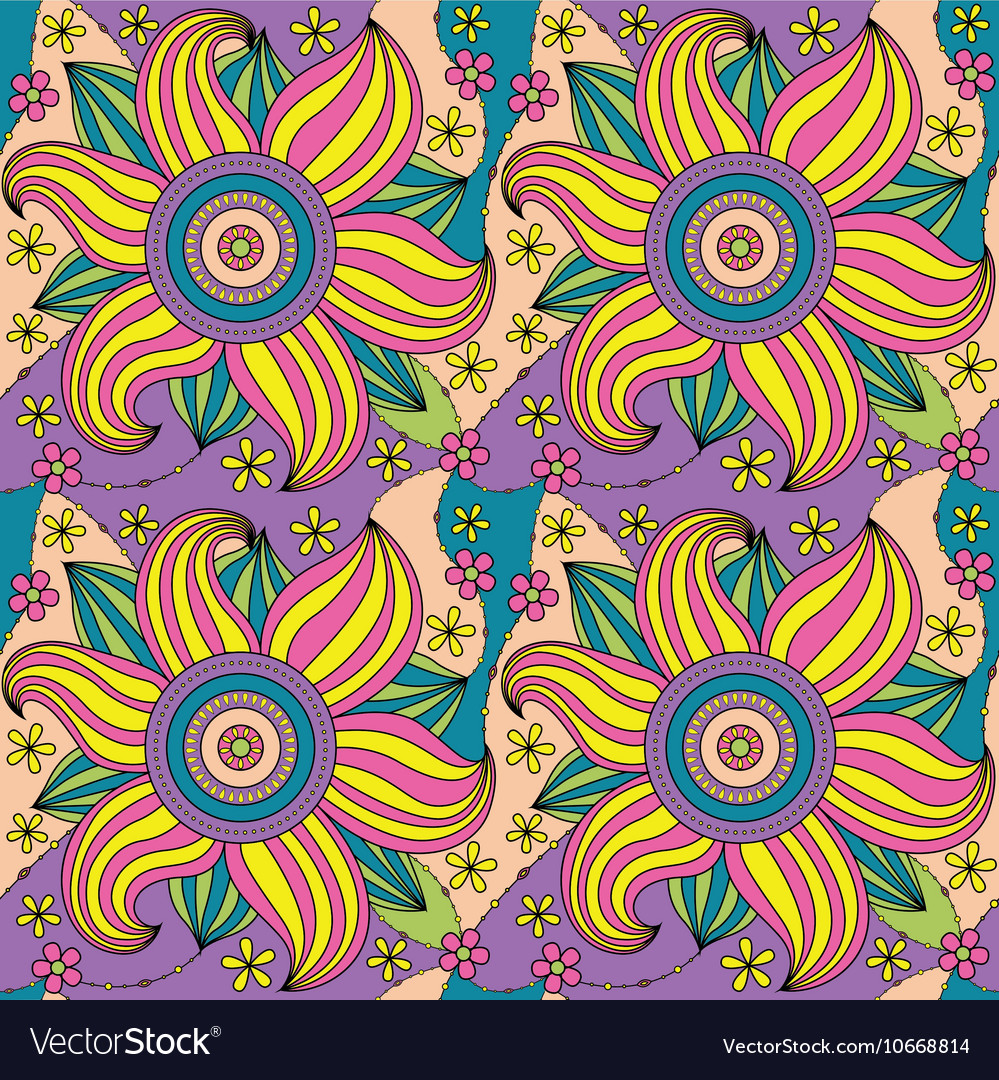 Big flowers pattern colorful vector image