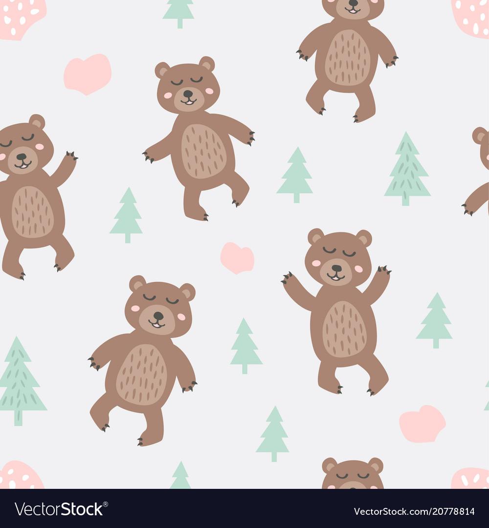 Childish seamless pattern with cute bear creative