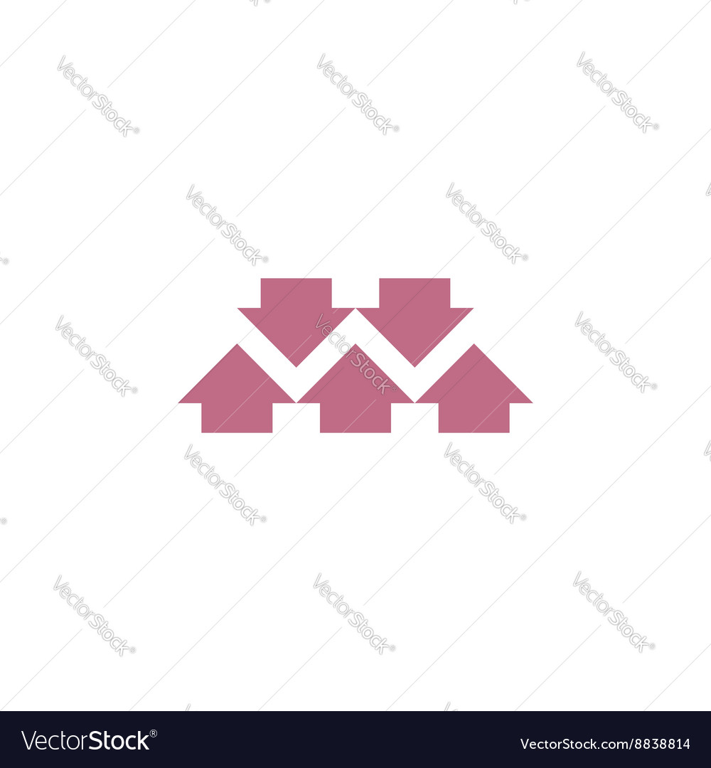 Come together graphic arrow logo abstract letter vector image