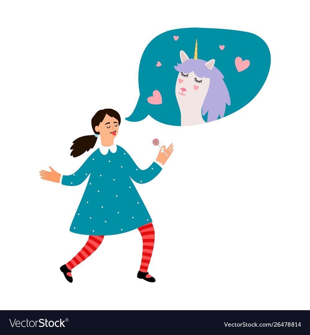 Cute girl dreams about unicorn