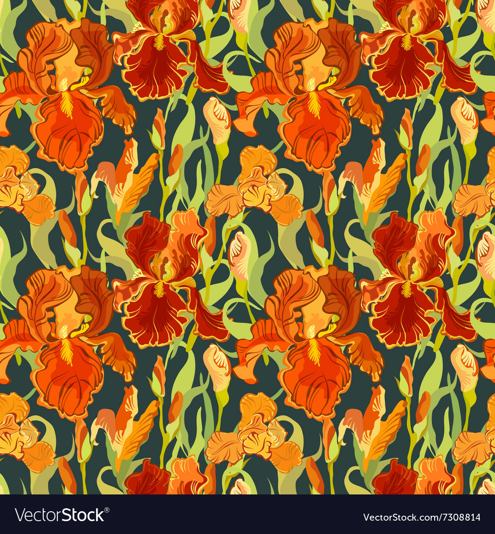 Floral seamless pattern red iris flower royalty free vector floral seamless pattern red iris flower vector image izmirmasajfo