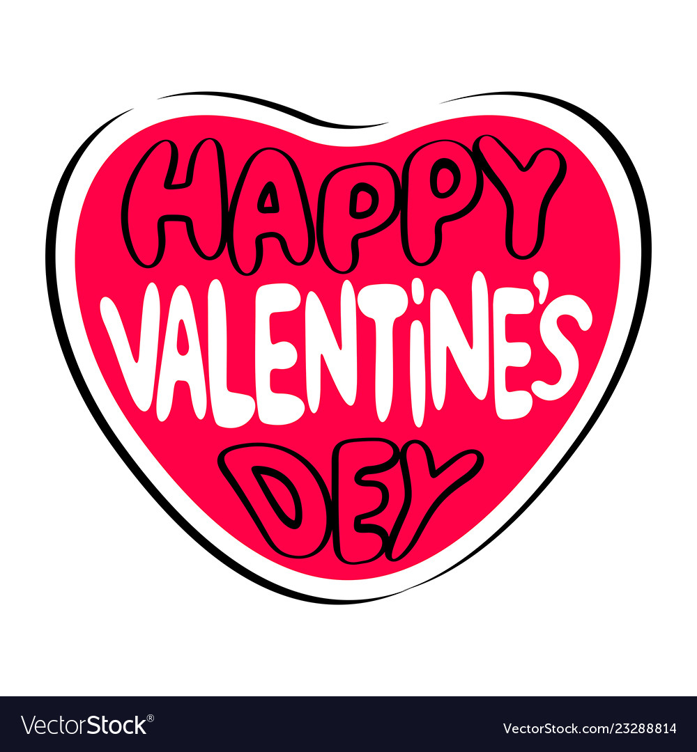 Happy valentines day lettering text