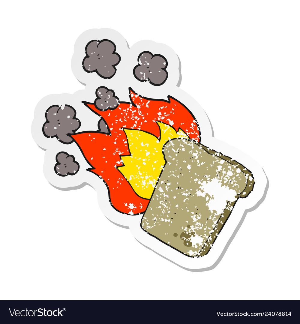 5c7b25d73c16 Retro distressed sticker of a cartoon burnt toast Vector Image