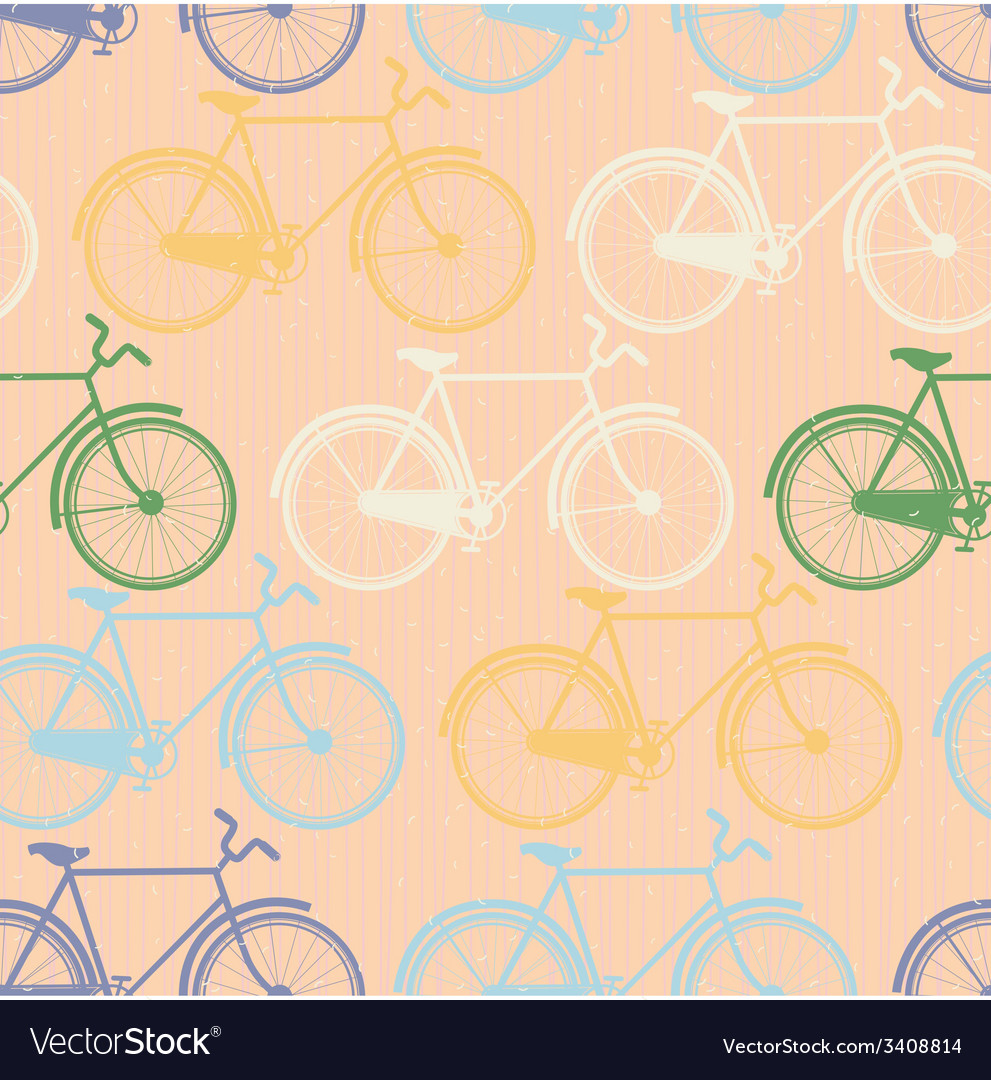 Seamless pattern of colorful bicycles Flat style