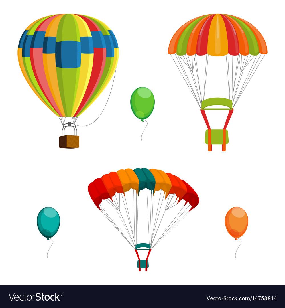 Set of colorful air balloon and parachutes