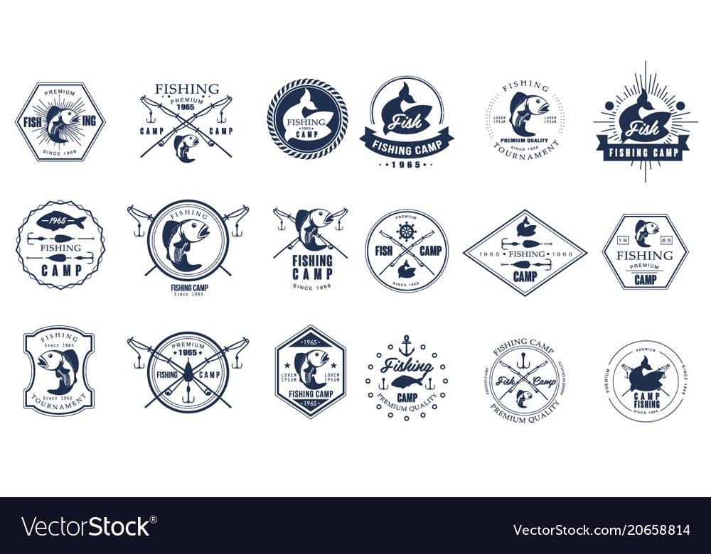 Set of vintage fishing camp logo or