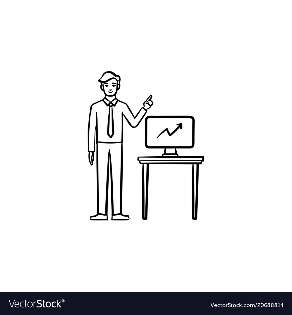 Teacher and infographic hand drawn sketch icon vector image