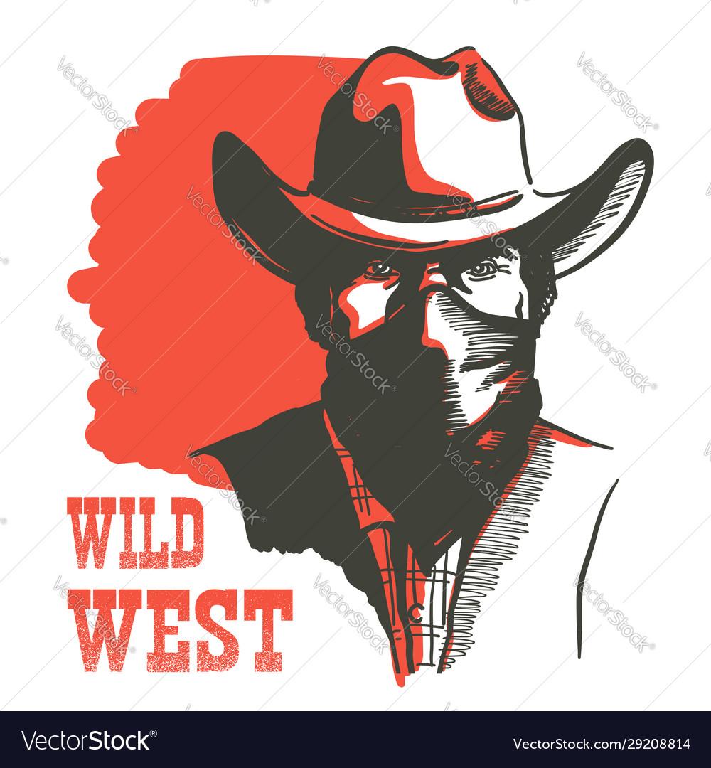 Wild west cowboy portrait man in bandanna mask