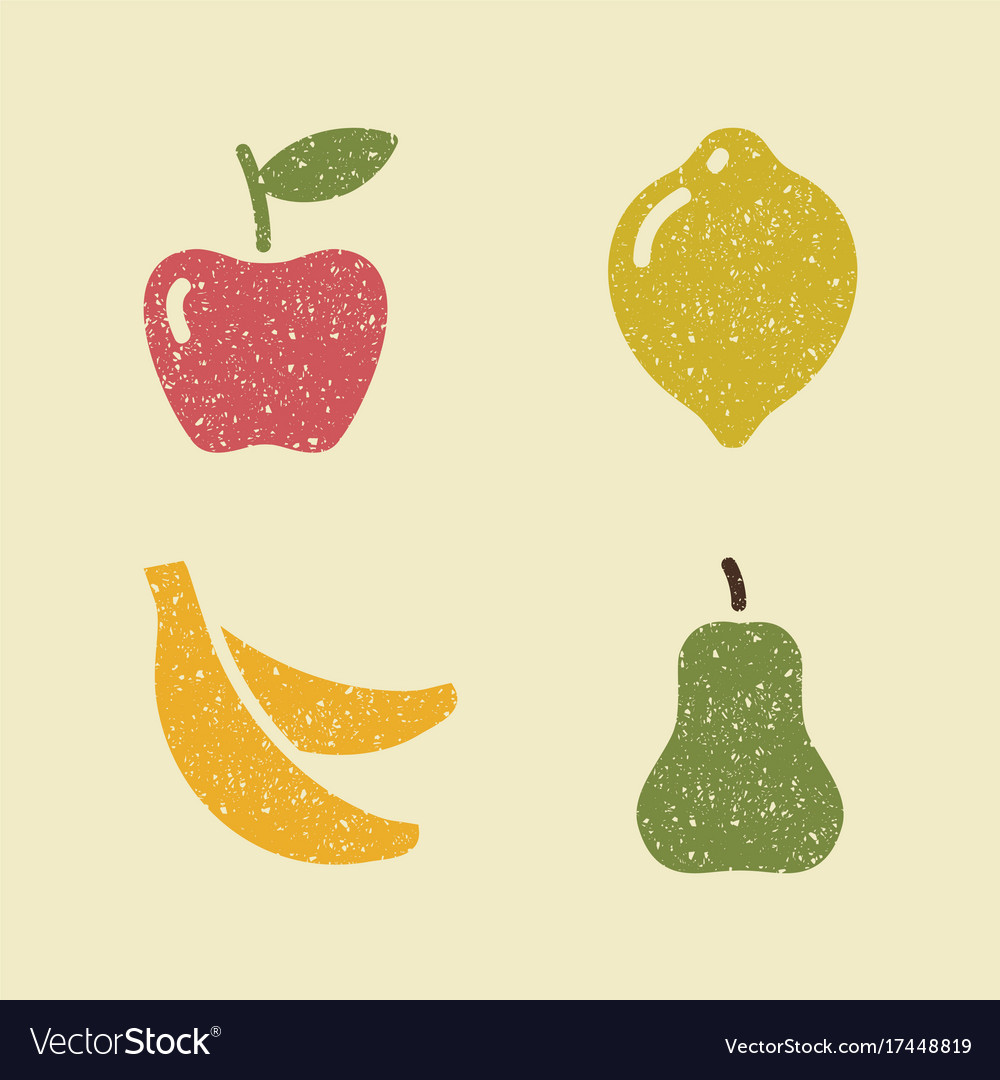 Apple lemon banana and pear stylized images of
