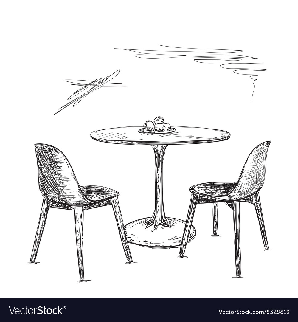 Cafe Or Kitchen Interior Table And Chair Sketch