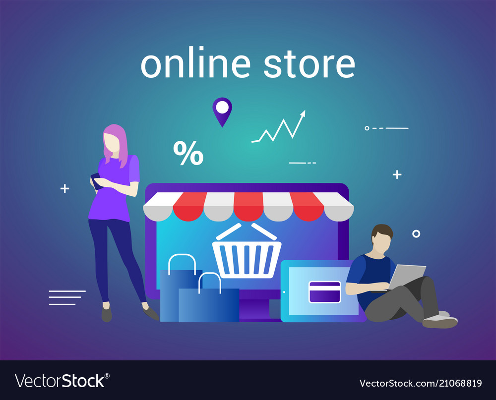 Flat Design Banner Of E Commerce And E Shopping Vector Image