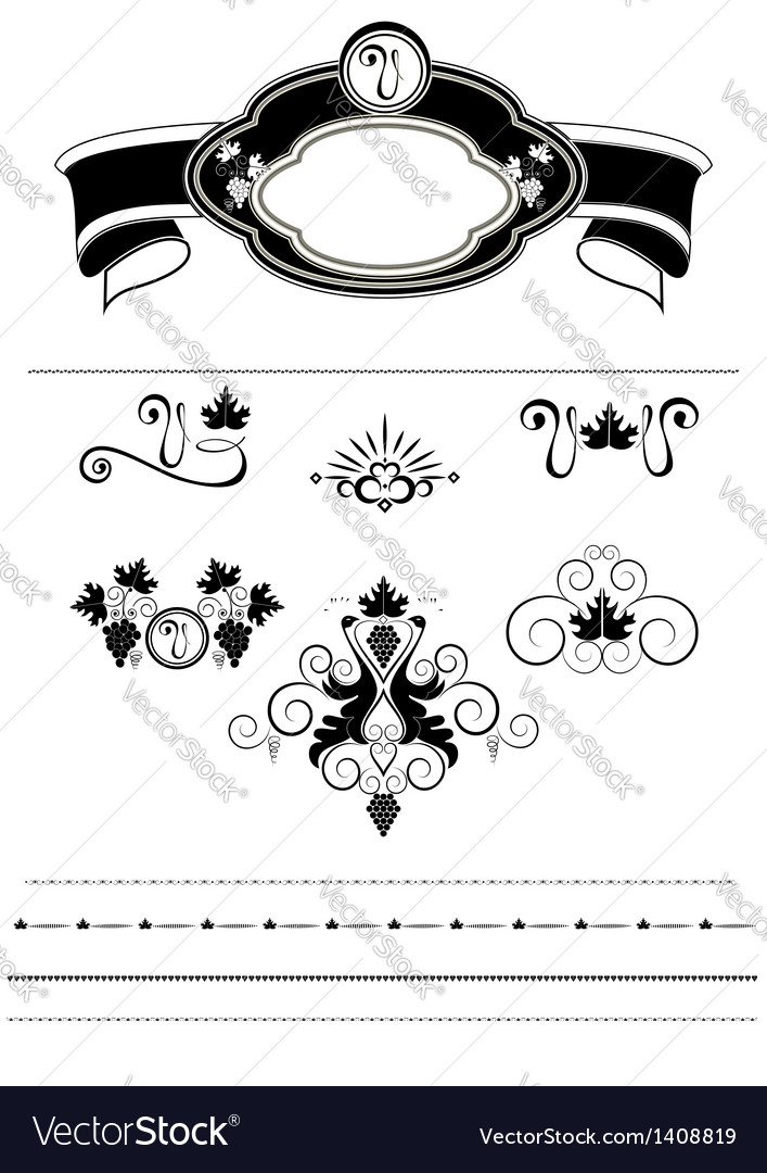 Frame with grapes and pattern with birds vector image